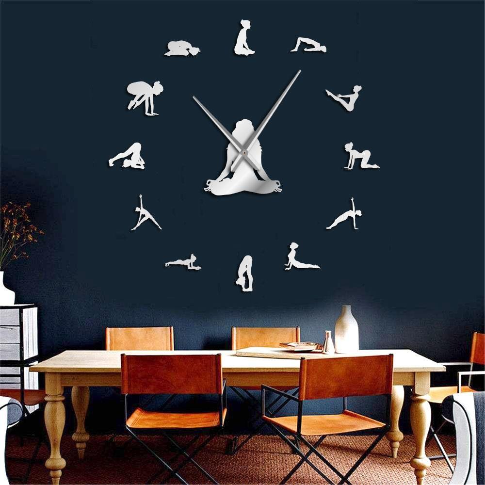 Yoga Poses Diy Giant Wall Clock Find Your Balance Meditation Wall Art Home Dcor Modern Large Wall Clock Watch Mindfulness Gift Large Wall Clock Large Wall Giant Wall Clock