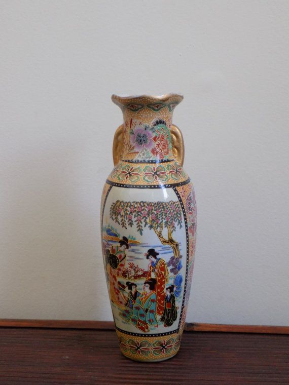 Japanese Satsuma Style Vintage Small Vase Geisha Woman Floral And Gold Tone Detail Raised