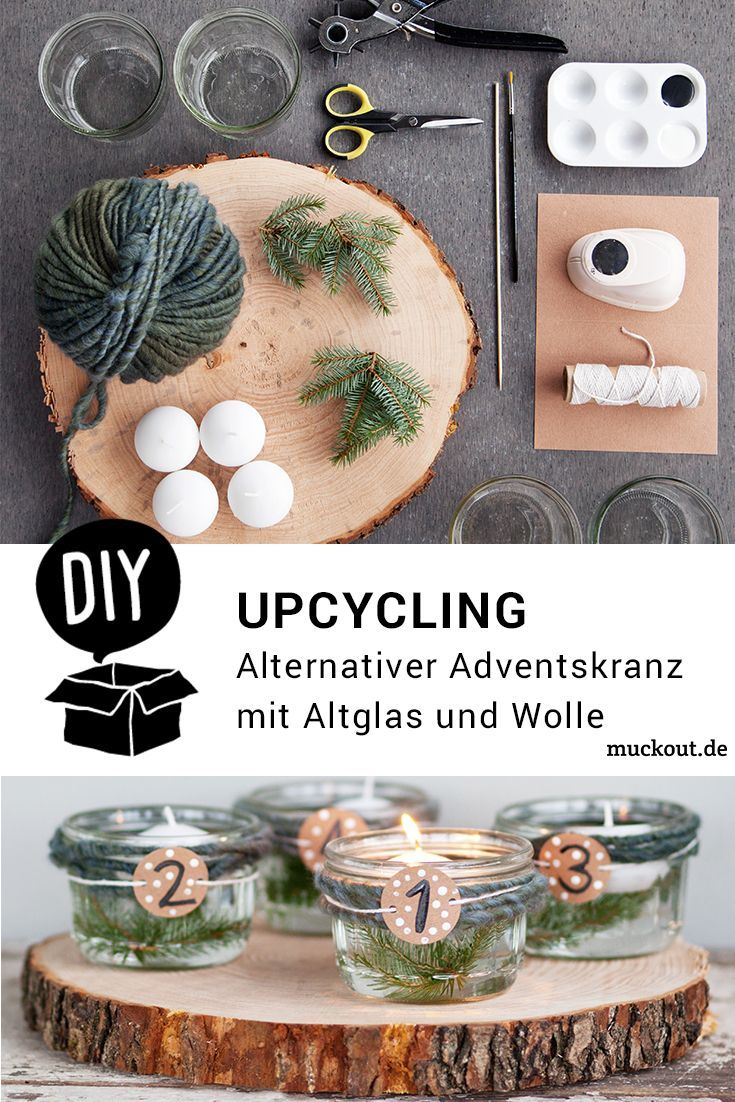 DIY-Idee: Alternativer Upcycling-Adventskranz mit Altglas #adventskranzaufbaumscheibe