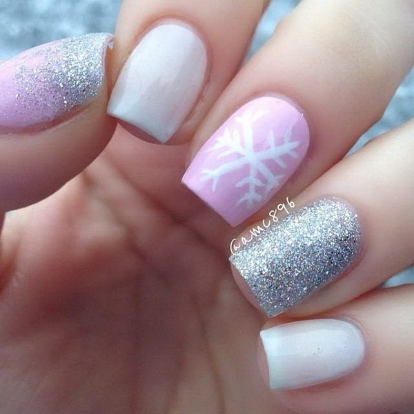Pink White Sparkle Nails with Snowflake Accent.