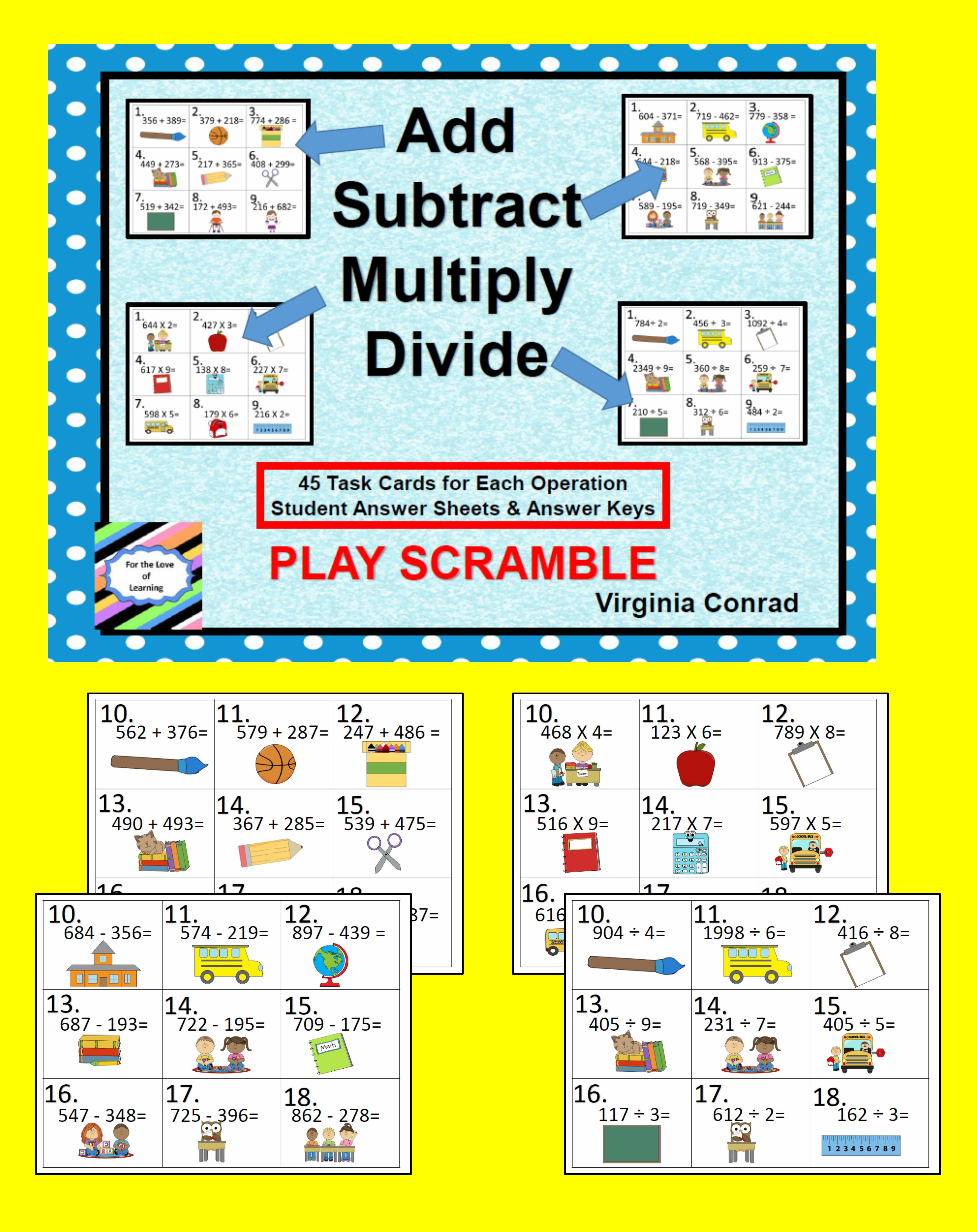Add Subtract Multiply Divide Back To School Theme