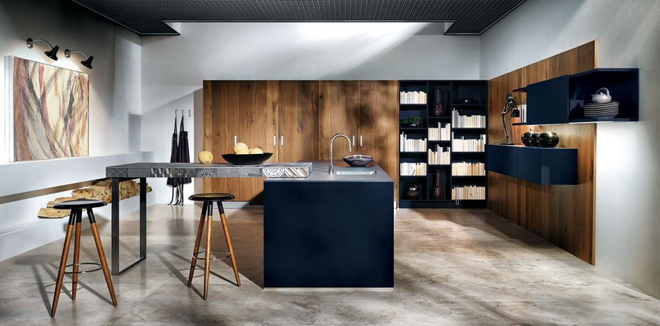 next125 - NX 902 Glass matt indigo blue island kitchen Pinterest