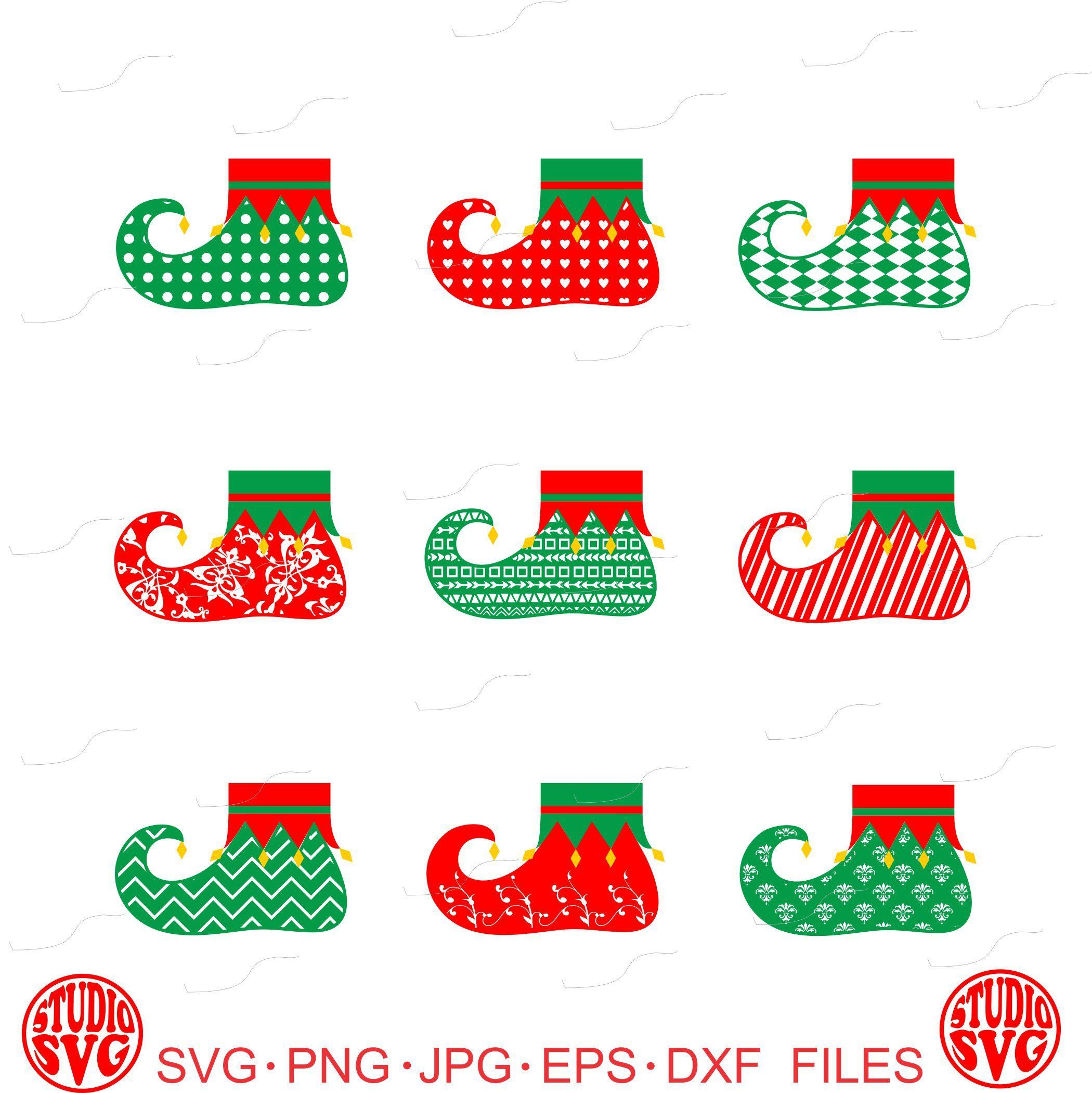 Elf boots elf shoes elf stockings vinyl decal digital cut file