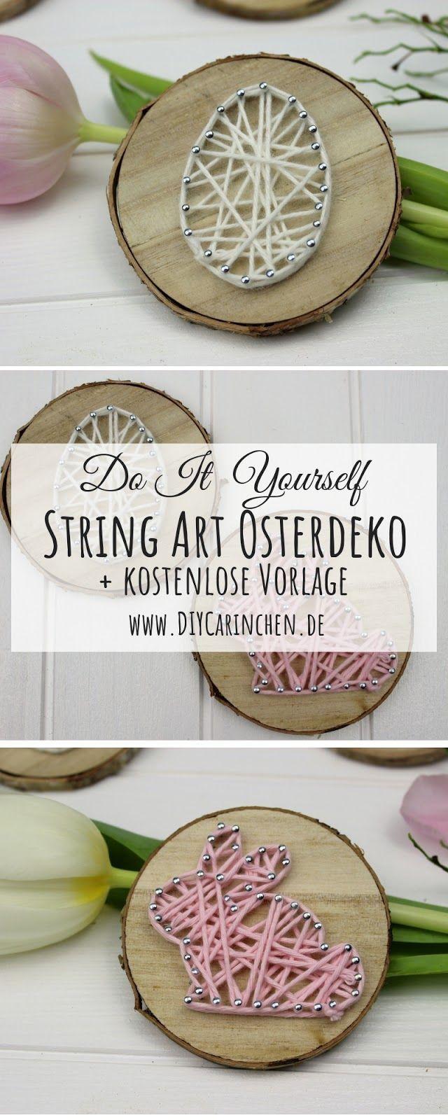 DIY DIY Easter Bunny in String Art on a branch disc