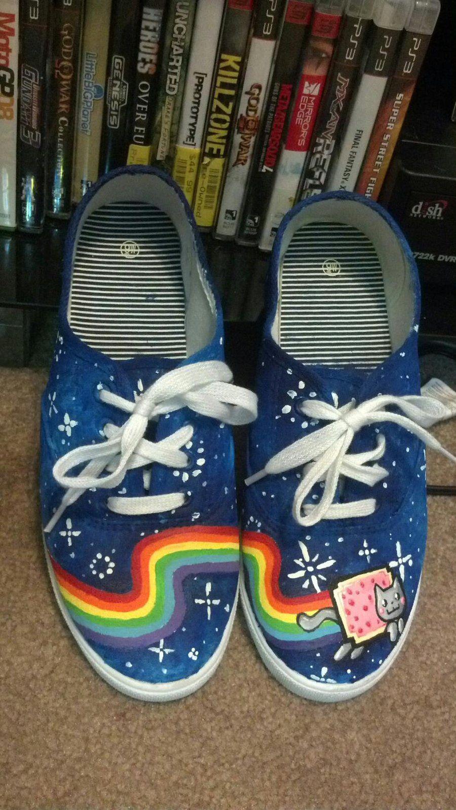 47b69cb2b1c53 Nyan cat shoes!!!!!!!!! | Cover My Footsies! | Cat shoes, Nyan cat ...