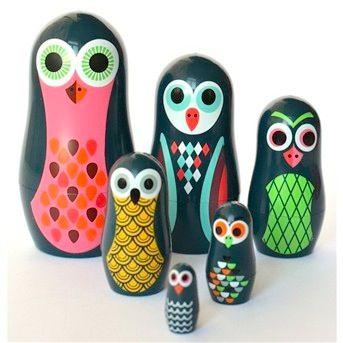 Swoon New Ingela Arrhenius Nesting Dolls Owl Babushka