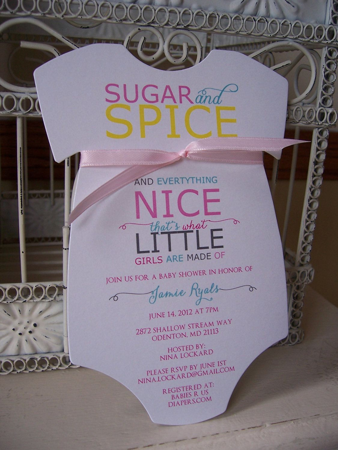 Poster Style Sugar and Spice Baby Girl Shower Invitation - Custom ...