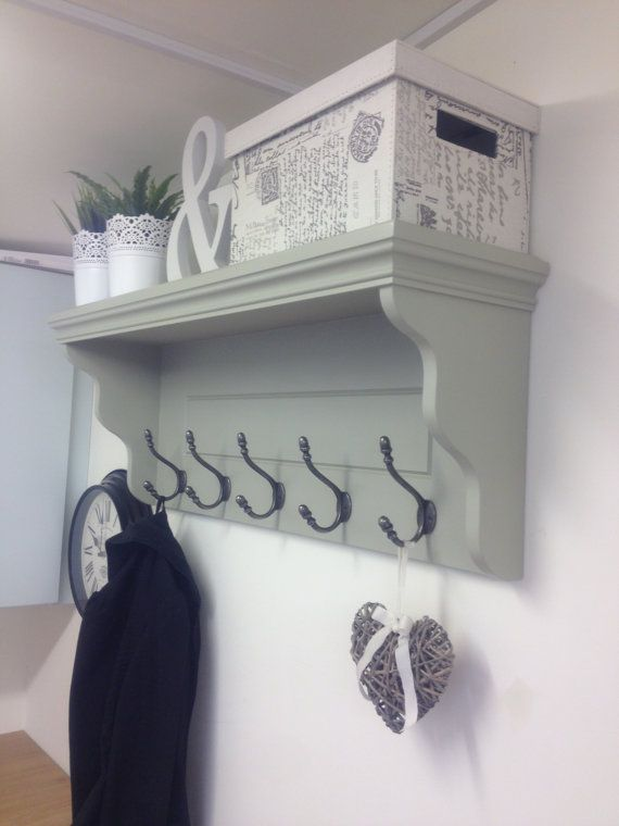 French Grey Hallway Coat Rack With Shelf and Cast Iron Or Silver Hooks -  Farrow & Ball French Grey