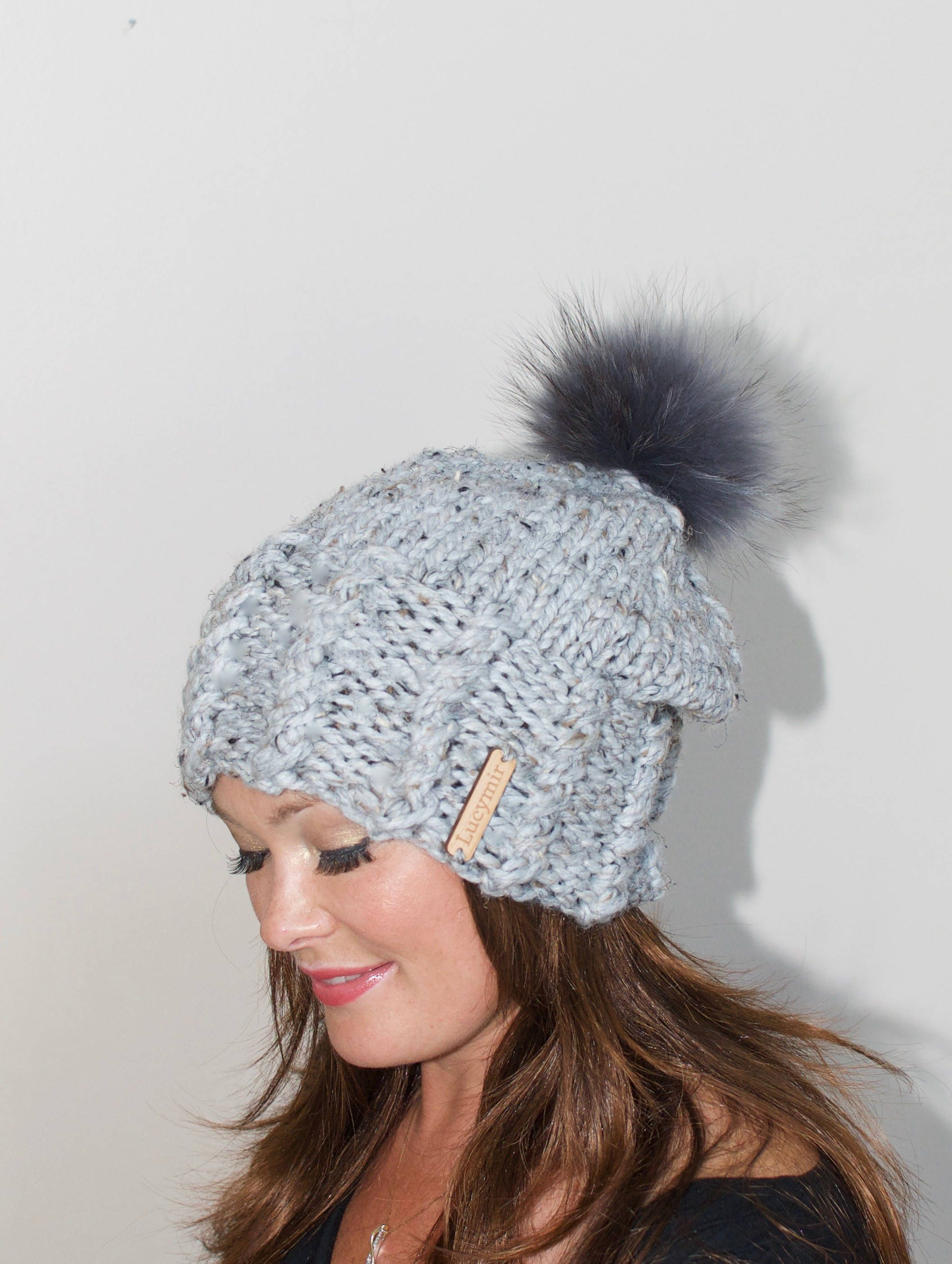 e0bdd6eeafc140 Fur Pompom Beanie Fur Pompom Slouchy Beanie Hat Chunky Women Hat Winter Hat  CHOOSE COLOR Gray Marble Chunky Christmas Gift under 100 by lucymir on Etsy
