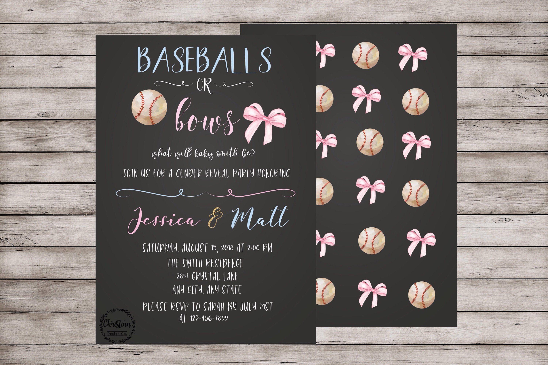 Baseballs Or Bows Invitation Gender Reveal Invitation Gender Etsy Gender Reveal Invitations Gender Reveal Party Decorations Baby Reveal Invitations