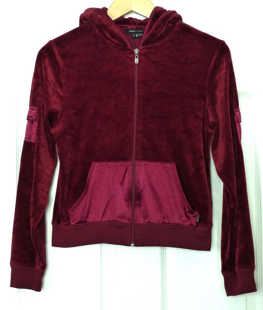 BCBG Max Azria Burgundy Velvet Velour Zip-up Hoodie Sweater Jacket ...