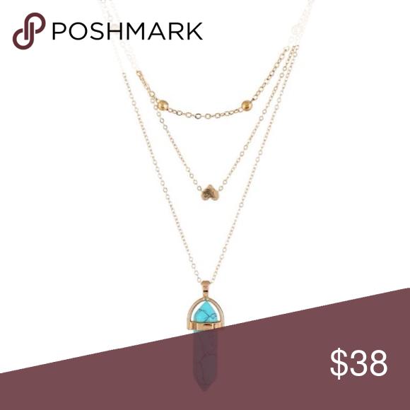 Turquoise Stone Layered Necklace Turquoise Layered Stone