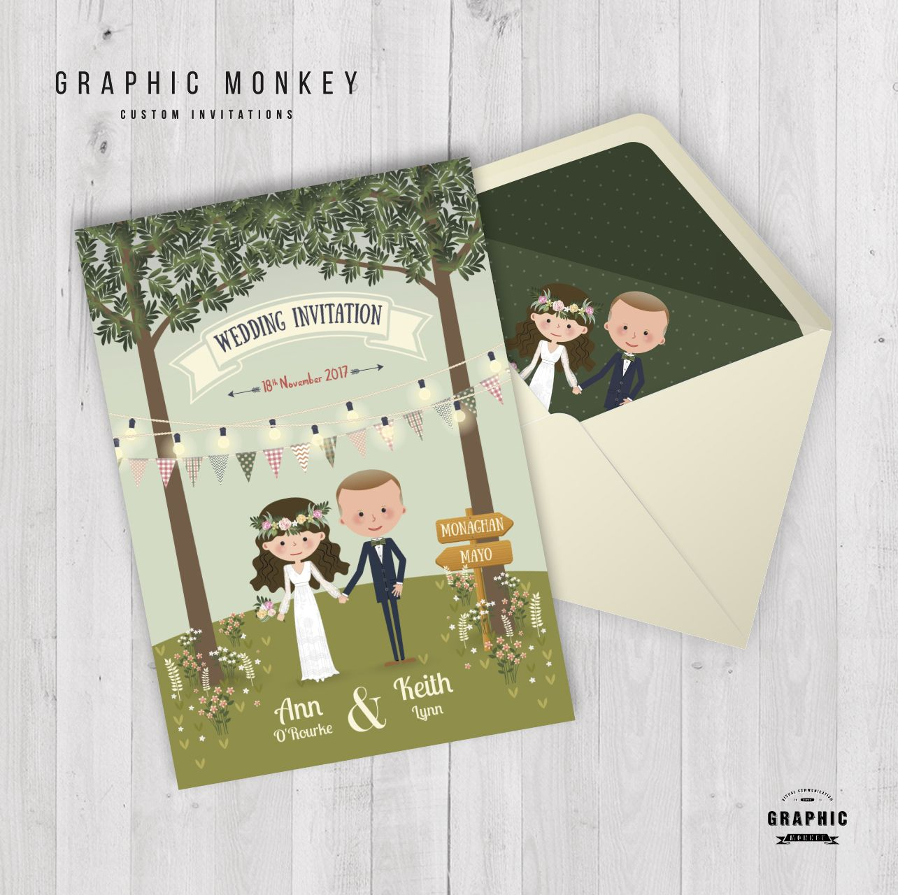 Cartoon wedding invitation with custom envelope liner quirky