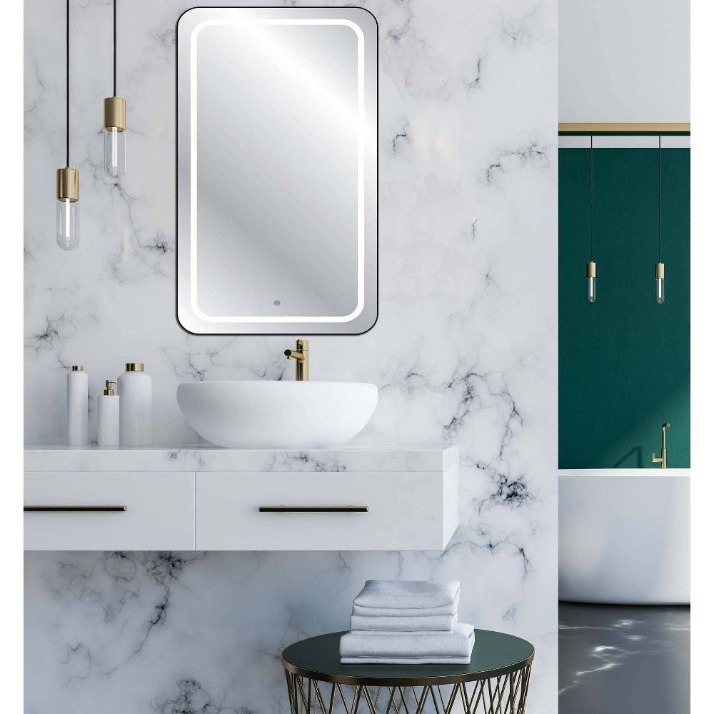 19 X 27 Touch Led Cordless Lighted Wall Decor Mirror Celebrity Living In 2020 Mirror Decor Mirror Bathroom Mirror