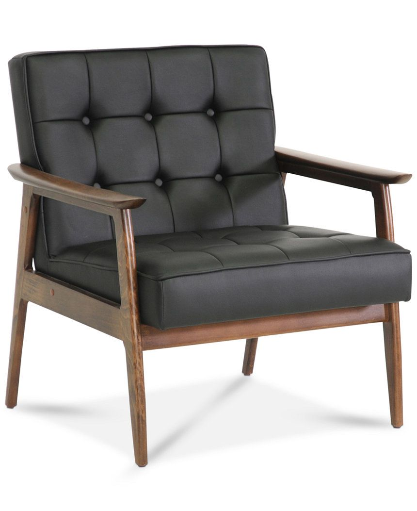 Bixby Faux Leather Mid Century Modern Club Chair, Quick