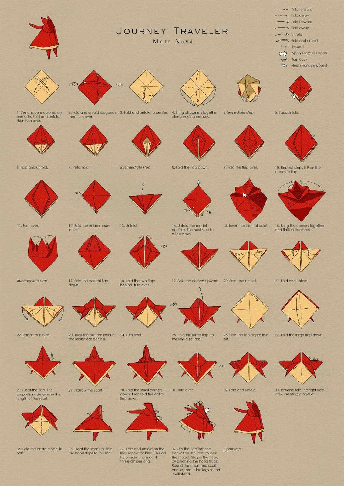 Matt Nava Journey Traveler Origami Diagrams Origami Diagrams Origami Crafts Origami Design