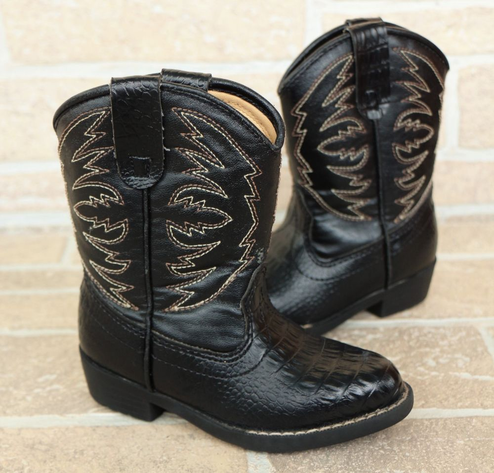 6782bf85b32 Original Rugged Outback Black Cowboy Western Boots Toddler Boys Size ...
