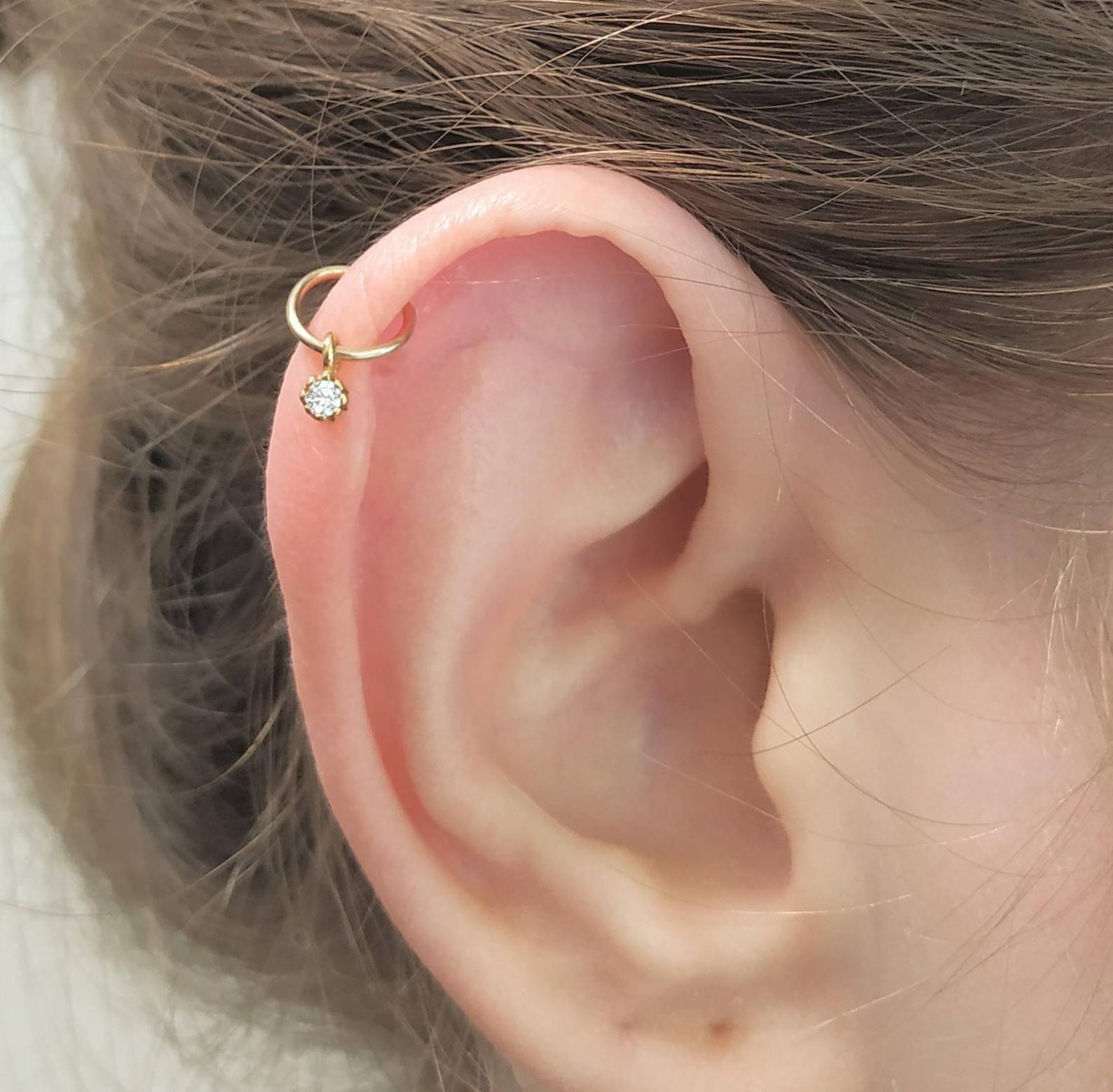 Cartilage Bar Piercing  Upper Ear Silver Helix 5 Amethyst Crystal 1.2 x 6mm New