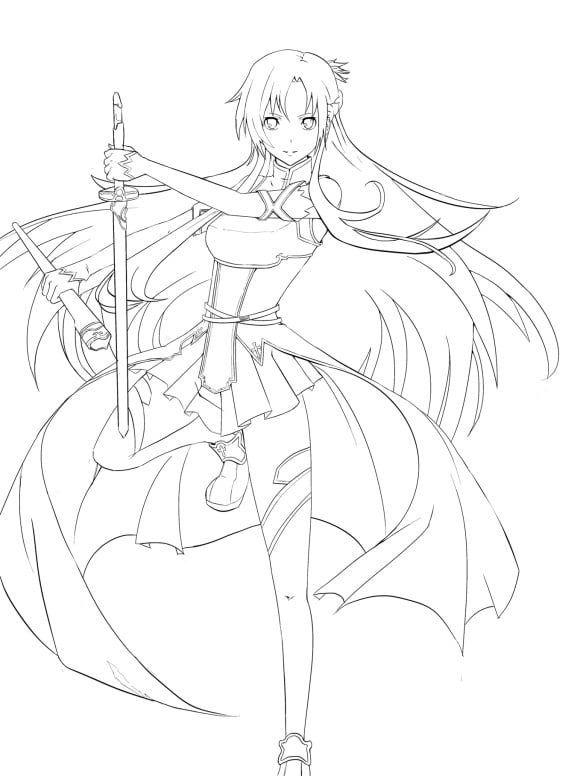 Asuna Sword Art Online Coloring Pages Di 2020 Sketsa Cara Menggambar Animasi