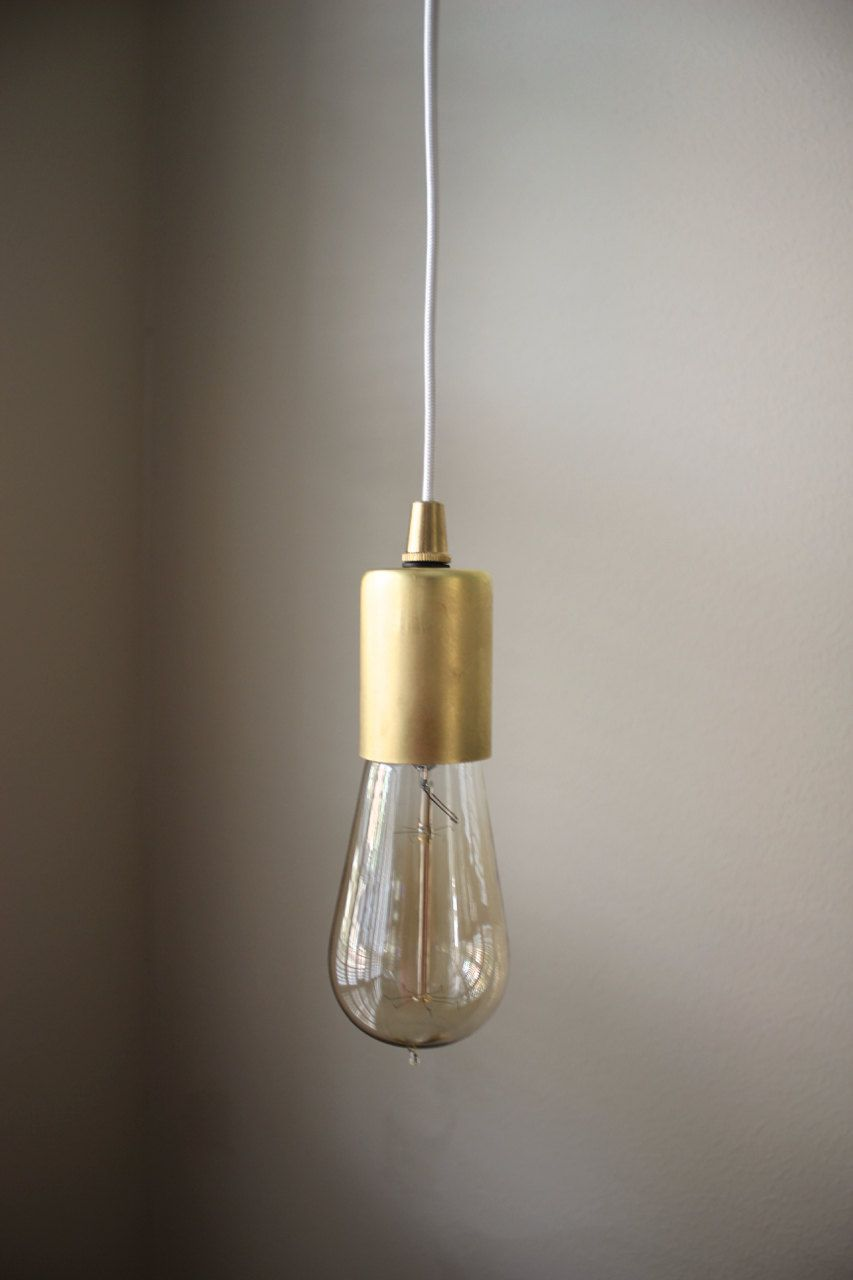 Please Note This Fixture Does Not Include A Switch But One Can Be Added See Below Bulb Inlcuded Beautiful Minimalist Bare Gold Brass Pendant