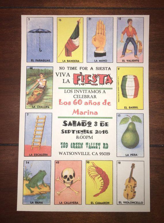 loteria invitations  fiesta invitations  mexican