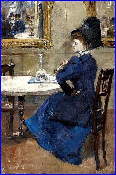 Lesser Ury 1861-1931 Germany Dame à la robe bleue au café c.1900-1910 Huile sur toile 76,3 x 51,5 cm Collection privée..JPG