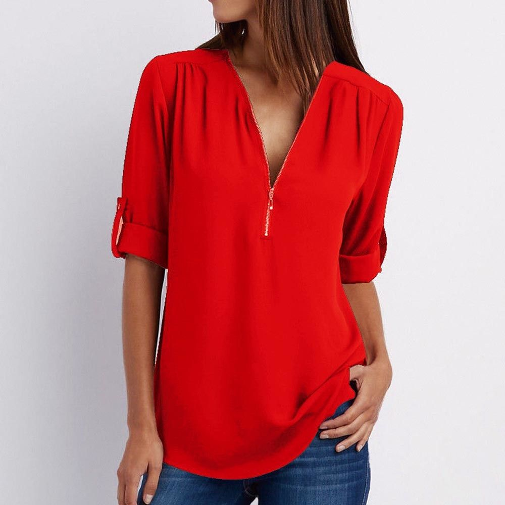 8094c5b1678 Women's Shirt V Neck Zipper Solid Color Long SLeeve Blouse Casual Loose  Womens Tops and Blouses Blusas Chiffon Roupa Feminina(China)