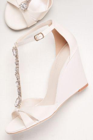 Crystal T-Strap Satin Wedges Style LULU