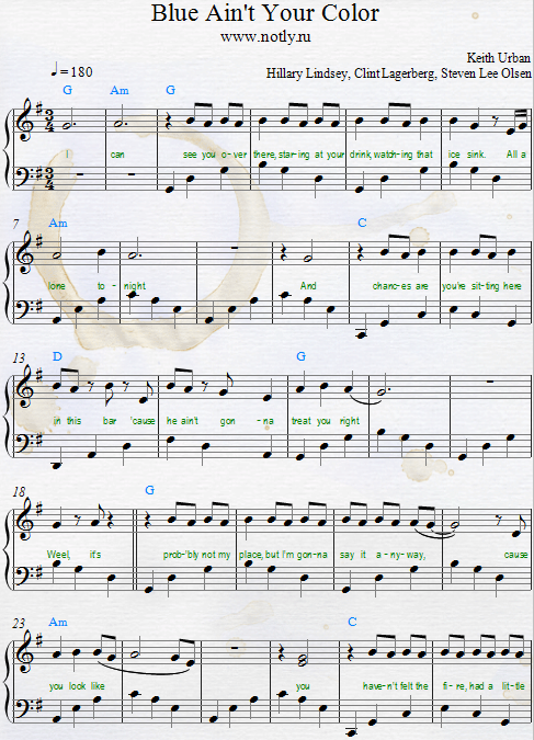 Keith Urban — Blue Ain't Your Color Download PDF Piano Sheet Music