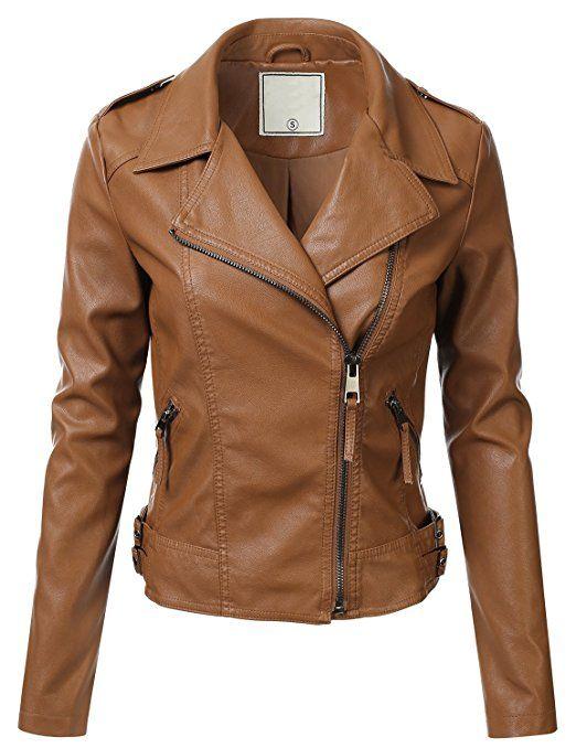 Floria Women Faux Leather Jacket W Zipper Closure Khaki M Faux Leather Jacket Women Faux Leather Jackets Leather Look Jackets