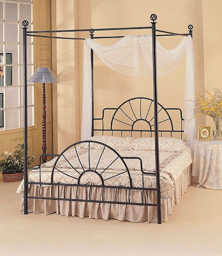 Black Metal Canopy Bed Frame Queen Iron canopy bed