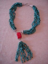 Zilveren Ketting met echt turquoise en bamboe koraal | Halskettingen | Welíta`s