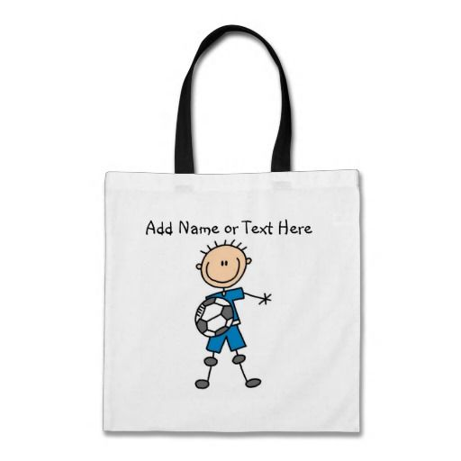 Custom Stick Figure Blue Soccer Player  Bag  Click on photo to purchase. Check out all current coupon offers and save! http://www.zazzle.com/coupons?rf=238785193994622463&tc=pin