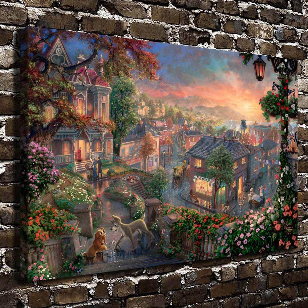 Thomas Kinkade paintings HD Canvas printed Home decor painting room Wall art 92