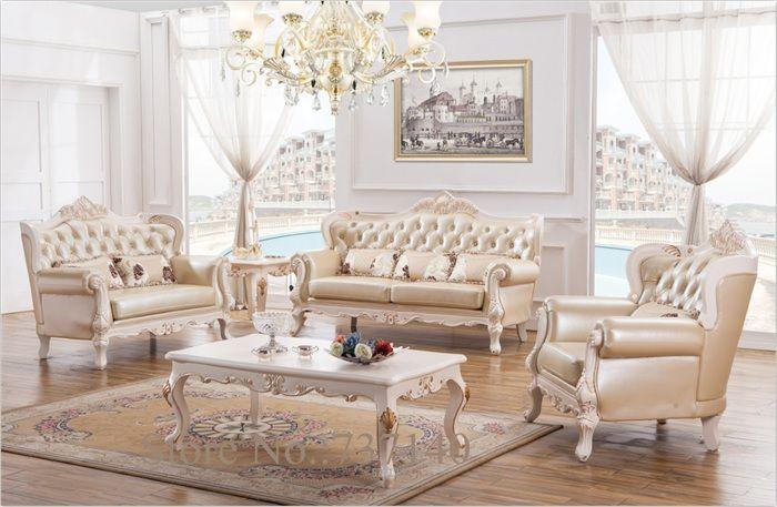 Barroco muebles de sala sofá fijó madera maciza y sofás de cuero ...