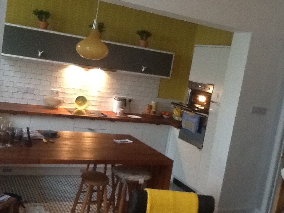 Orla Kiely Open Plan Kitchen Living Room Grey And Mustard Home