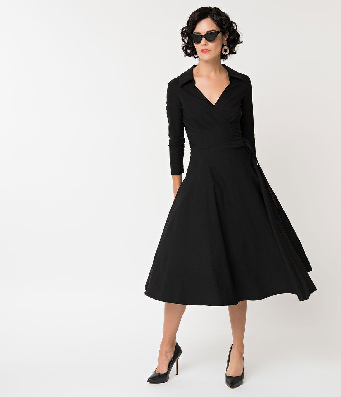 Unique Vintage 1950s Style Black Stretch Sleeved Anna Wrap Dress 1950s Fashion Dresses Vintage Dresses 50s 1950s Cocktail Dress [ 1275 x 1095 Pixel ]