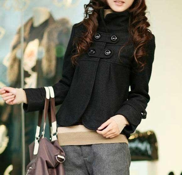 tecido de lã de mulheres slim senhora outerwear casaco curto casacos jaqueta e0116 wrap