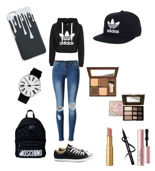 Untitled #3 by mariela-lopez-cruz on Polyvore featuring polyvore, fashion, style, WithChic, Converse, Moschino, Rosendahl, adidas, Too Faced Cosmetics and clothing