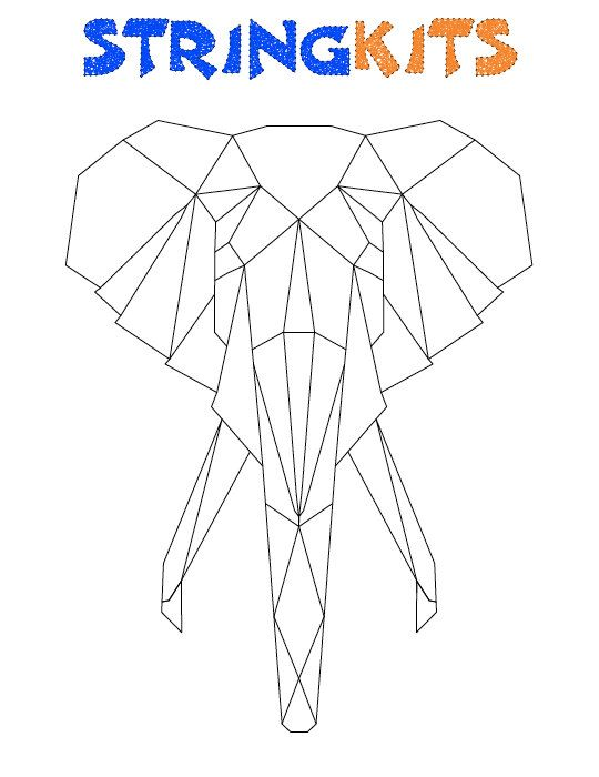 elephant string art template von stringkits auf pinteres. Black Bedroom Furniture Sets. Home Design Ideas