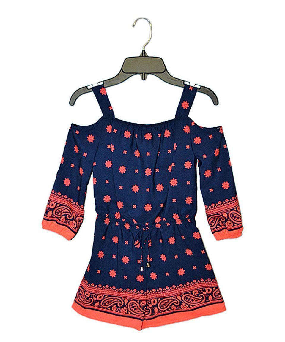 Look at this  zulilyfind! Coral   Mint Romper - Girls  zulilyfinds ... c848e2945f