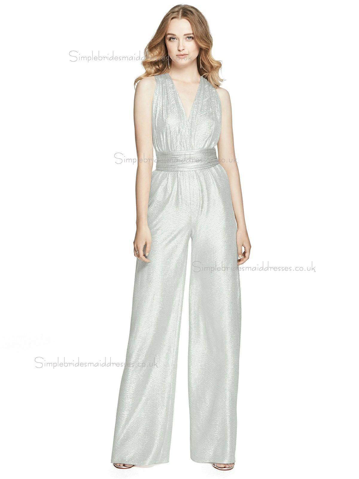 £8599 Budget Celebrity Floorlength Silver Vneck Crush Bridesmaid Dress: Silver V Neck Wedding Dress At Websimilar.org