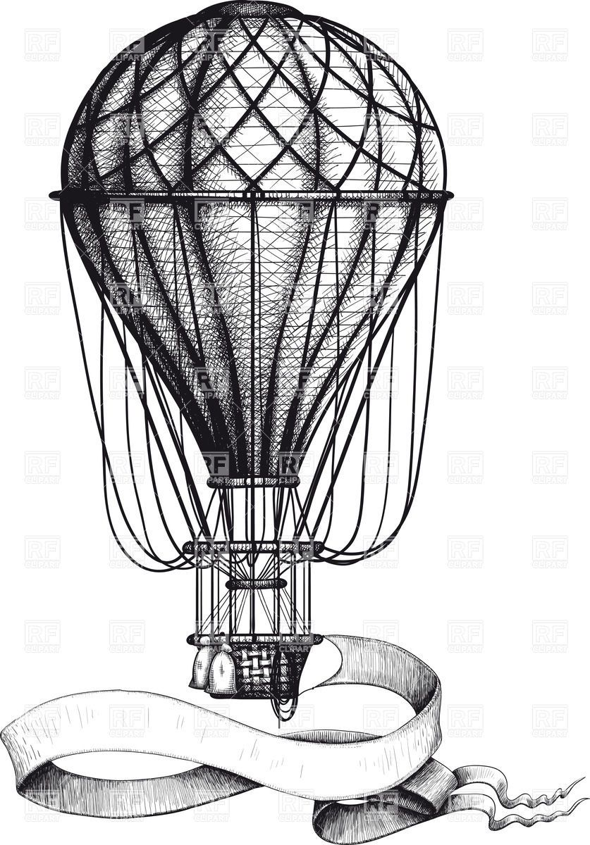Free printable coloring pages hot air balloon - Vintage Hot Air Balloon With Waving Banner Hanging To The Basket 37906 Download Royalty