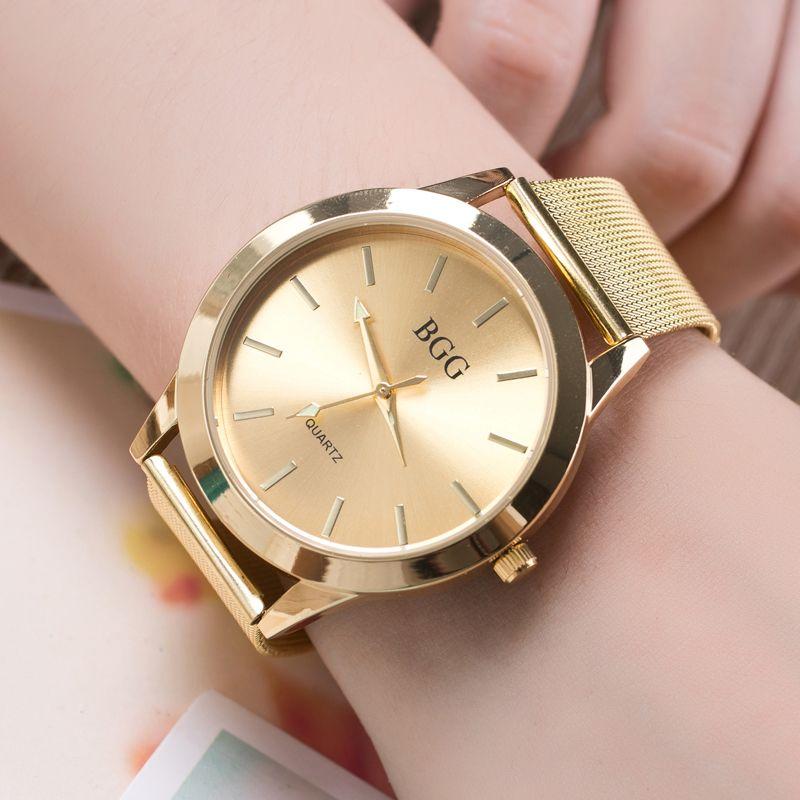 f6a2cd33b30 Barato Bgg 2017 top de luxo da marca mulheres relógios inoxidável super  slim Senhoras Relógio Relógio