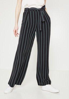 44eb4fbd44ae Pantalon large à rayures - Rayé vert émeraude - Pantalons - Femme - Promod