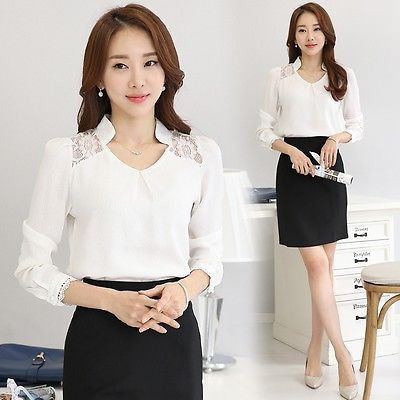 Moda-Para-Mujer-de-encaje-de-ganchillo-Elegante-Gasa-Top-de-manga-larga-camisa-casual-Blusa