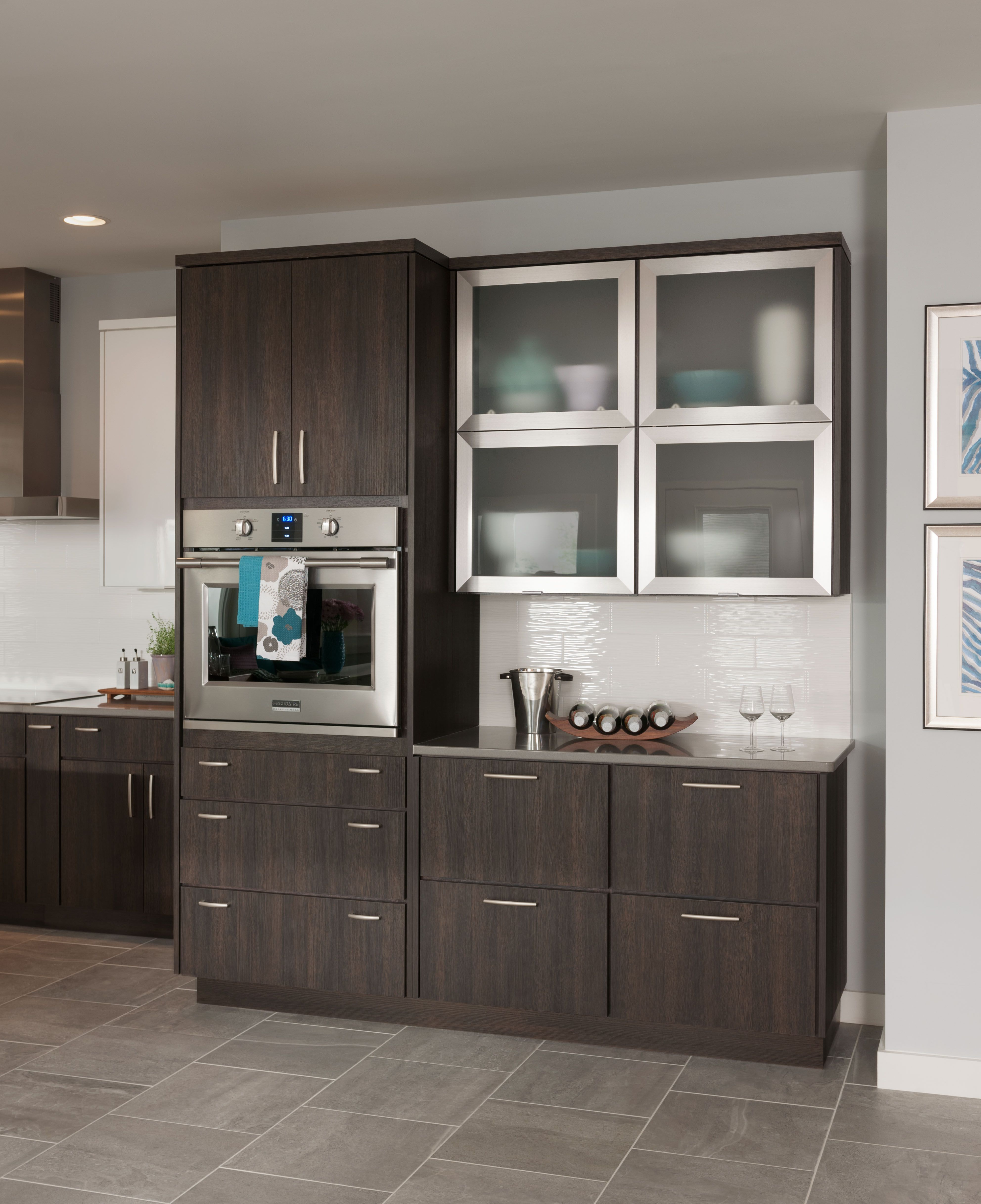 bellagio stainless steel doors with frosted glass the bi fold lift metal doors complement the on kitchen cabinets with glass doors on top id=16019
