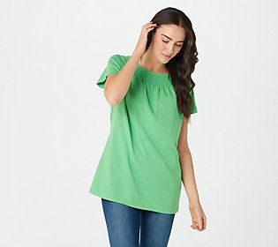 We're all in the same boat -- we love the casual comfort of a tee, but also crave something a little more sassy. This smocked boat-neck top lets you set sail on a fashionable course. From Denim & Co® Fashions.