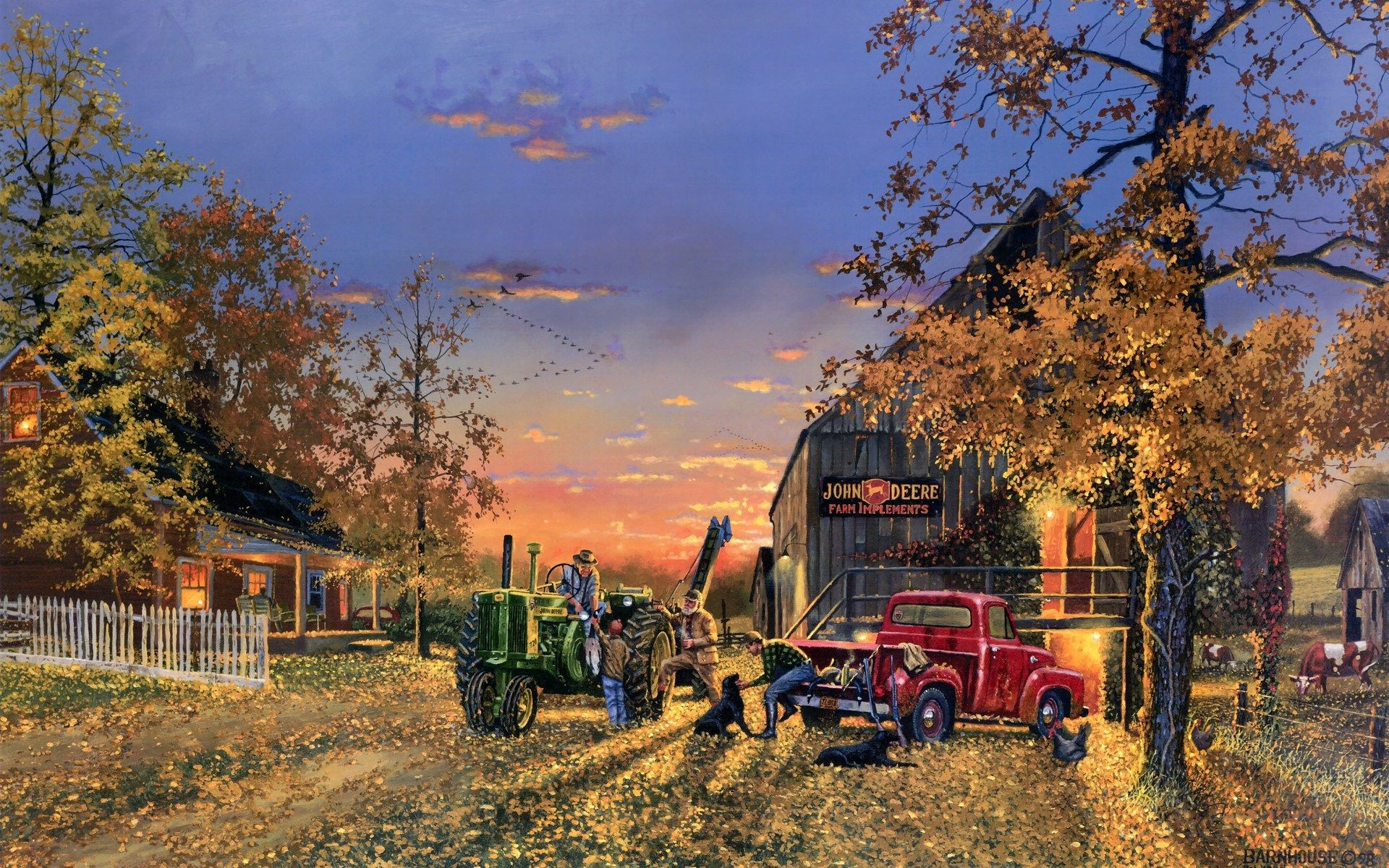 Dave Barnhouse Paintings Country Artistic Farm Vehicles Tractor People Landscapes Autumn Fall Seasons Holidays Thanksgiving Wallpaper Background