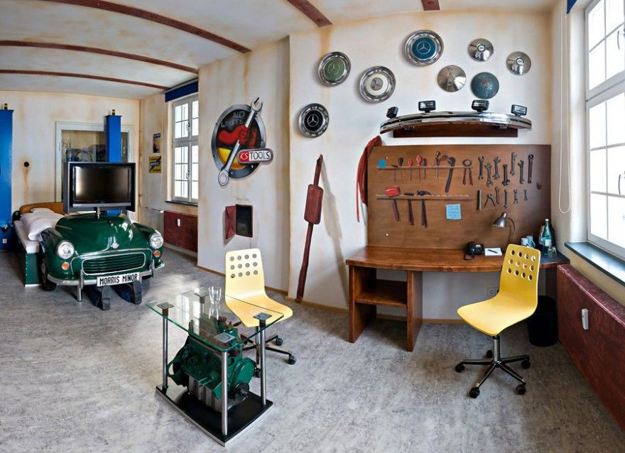 Car Workshop Theme For Bedroom With Green Car Bed Extraordinary